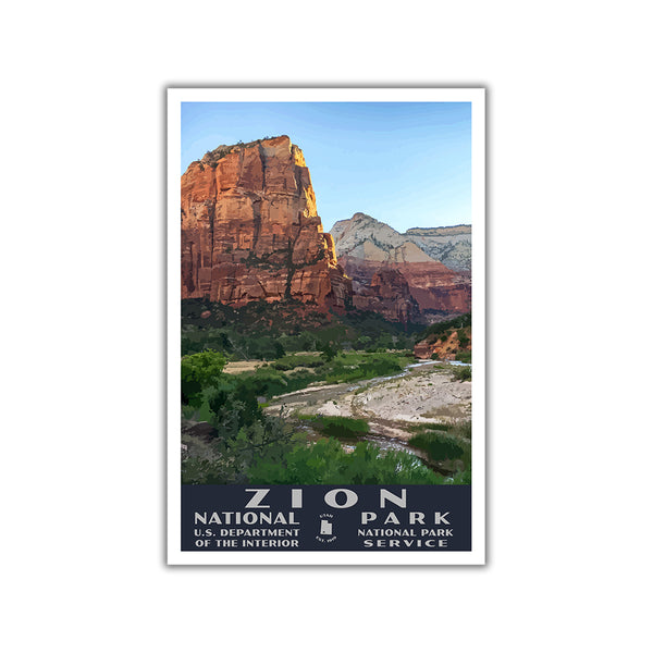 Zion National Park Poster-WPA (Zion Canyon)