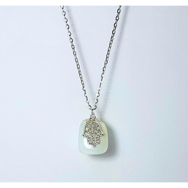 Silver Hamsa Hand Charm Detailed Opalite Necklace