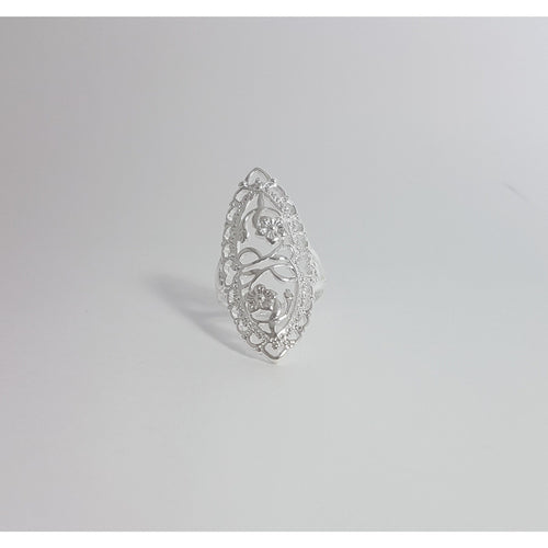 Sterling Silver Plated Garden of Eden Ring