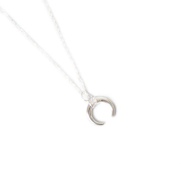 Delicate Diamante 925  Crescent Moon Necklace - Lakota Inspirations