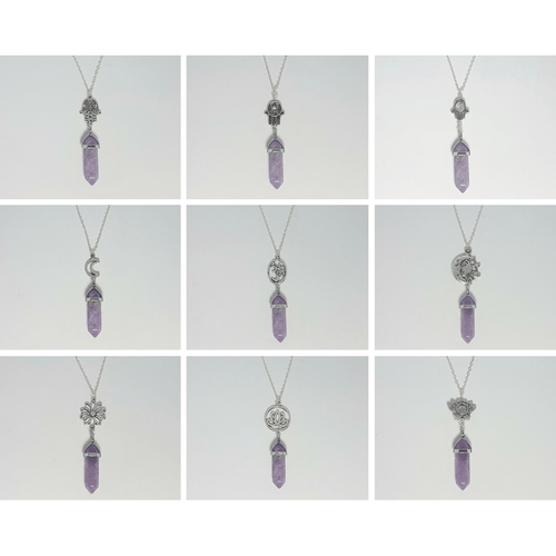Amethyst Crystal Designer Charm Necklace (Assorted) - Lakota Inspirations