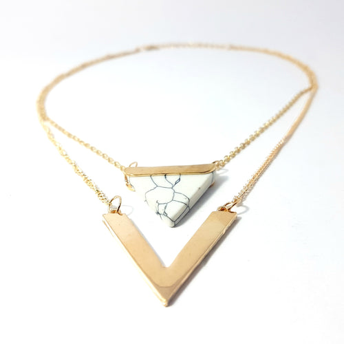 The Bermuda Triangle Layered Necklace- White - Lakota Inspirations