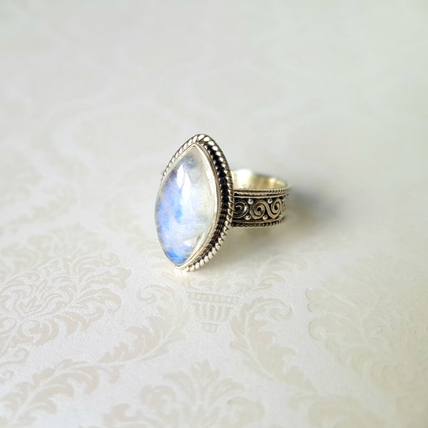 Goddess Calypso Rainbow Moonstone Sterling Silver Ring - Lakota Inspirations