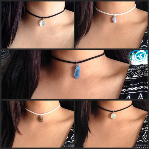 Assorted Crystal Thin Suede Choker