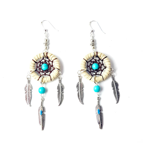 Dream Catcher Feather Charm Earrings - Lakota Inspirations