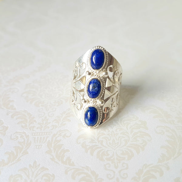 Gaian Goddess Lapis Lazuli Sterling Silver Ring - Lakota Inspirations