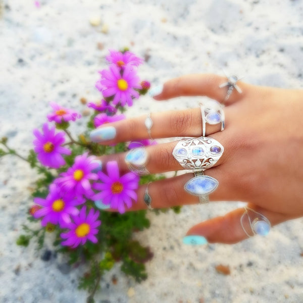 Gaian Goddess Rainbow Moonstone Sterling Silver Ring - Lakota Inspirations