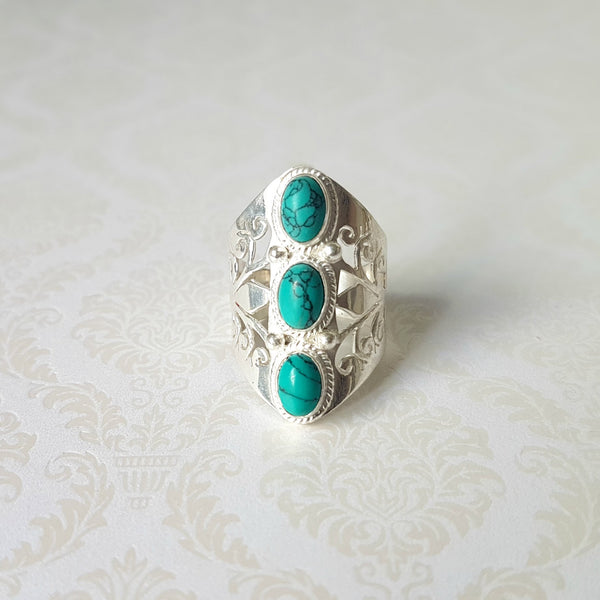 Gaian Goddess Stabilized Turquoise Sterling Silver Ring - Lakota Inspirations