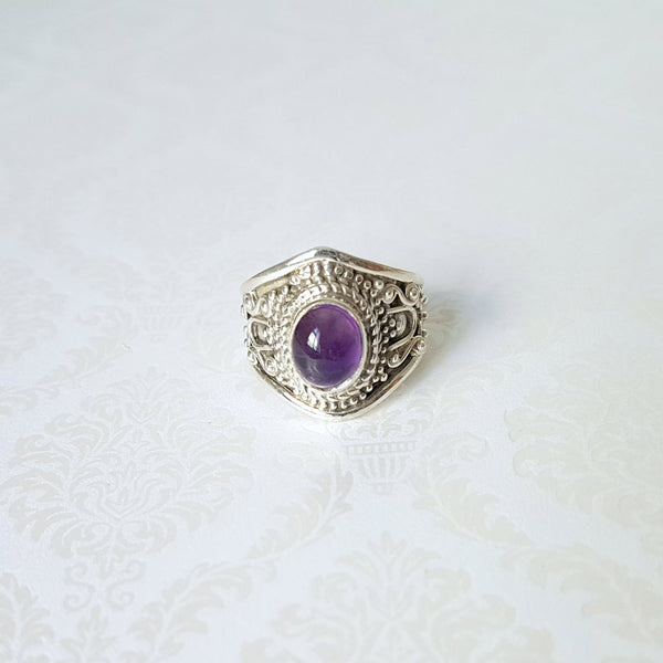 Goddess Aurora Amethyst Sterling Silver Ring - Lakota Inspirations