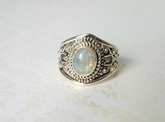 Goddess Aurora Rainbow Moonstone Sterling Silver Ring - Lakota Inspirations