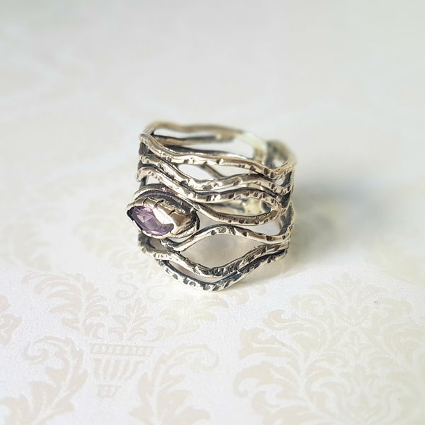 Goddess Medusa Amethyst Sterling Silver Ring - Lakota Inspirations