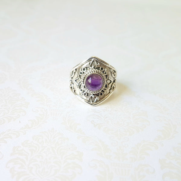 Goddess Minerva Amethyst Sterling Silver Ring - Lakota Inspirations