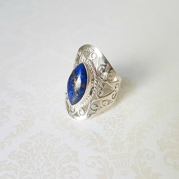 Goddess Venus Lapis Lazuli Sterling Silver Ring - Lakota Inspirations
