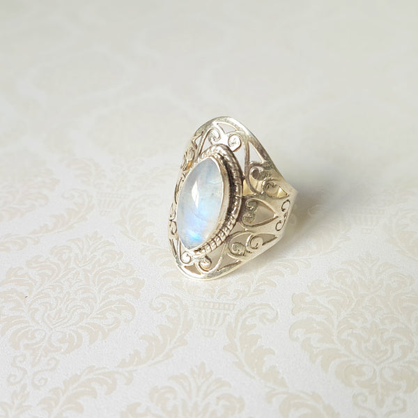 Goddess Venus Rainbow Moonstone Sterling Silver Ring - Lakota Inspirations