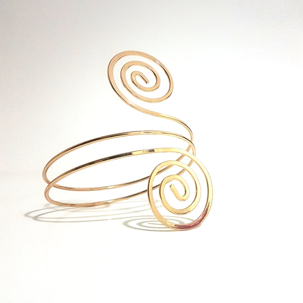 Gold Double Swirled Arm Cuff - Lakota Inspirations