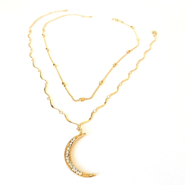 The Diamante Crescent Moon Stacking Necklace Duo - Lakota Inspirations