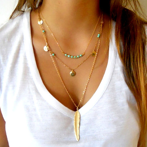 Gold and Turquoise Layered Feather Necklace - Lakota Inspirations
