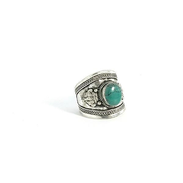 Green Stabilized Turquoise Tibetan Silver Ring - Lakota Inspirations