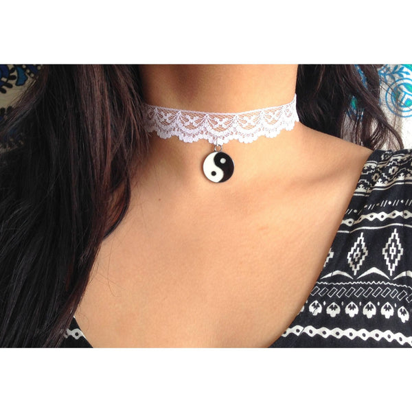 White Lace Choker with Charm