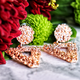 Textured Geometric Rose Gold Earrings
