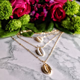Triple Cowrie Shell Gold Layered Necklace