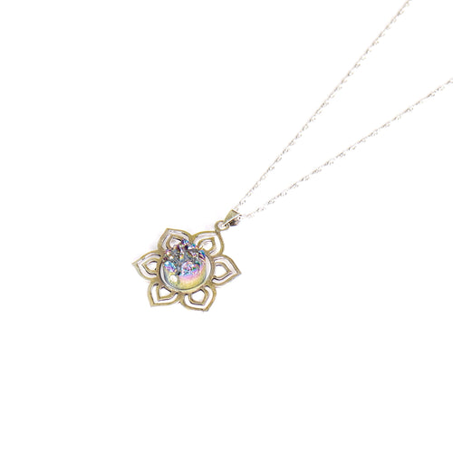 Flower of Life Sterling Silver Pendant with Titanium Aura Crystal Centrepiece - Lakota Inspirations