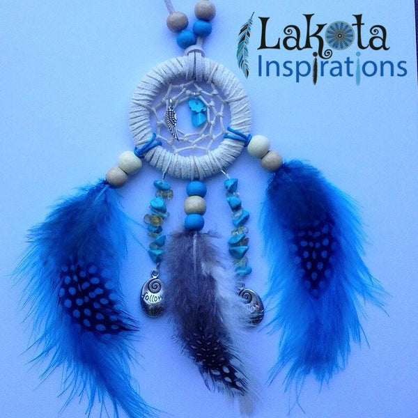 Cream Suede Dream Catcher Necklace
