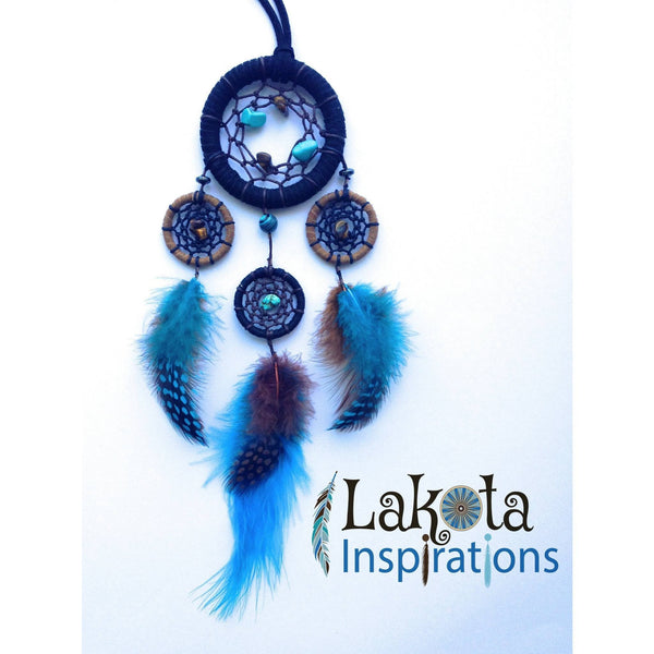 Three Tier Suede and Crystal Dream Catcher Necklace