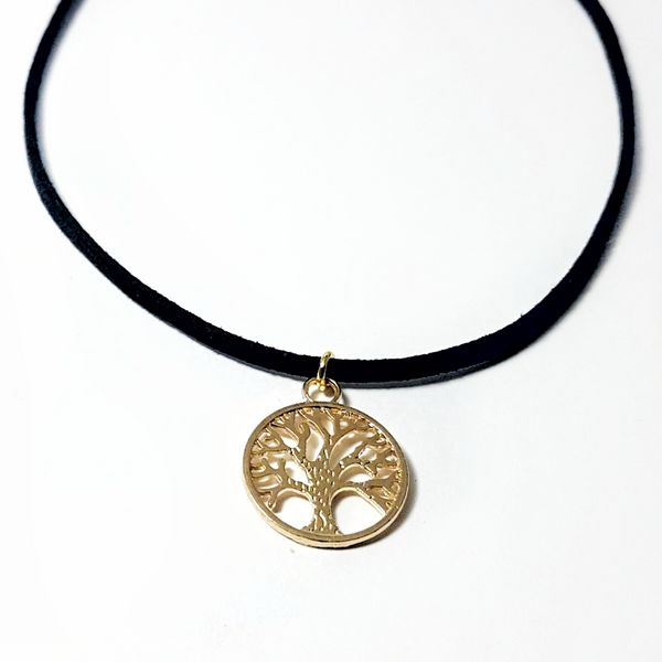 Gold Tree of Life Thin Suede Choker