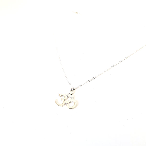 Large Silver Om Charm Chain Necklace - Lakota Inspirations
