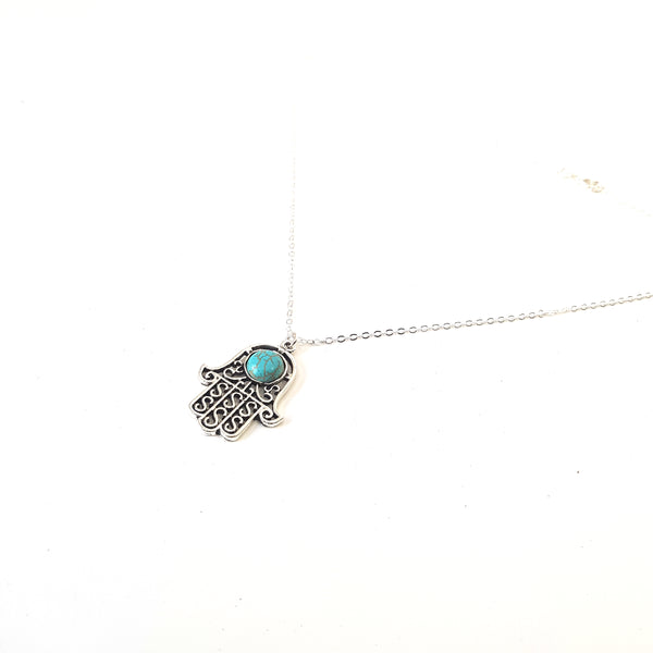 Turquoise Detailed Hamsa Hand Charm Chain Necklace - Lakota Inspirations