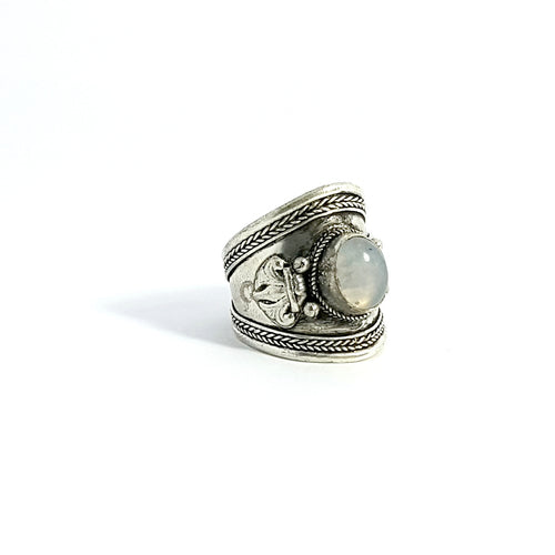 Moonstone Tibetan Silver Ring - Lakota Inspirations