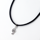 Music Note Charm Suede Choker