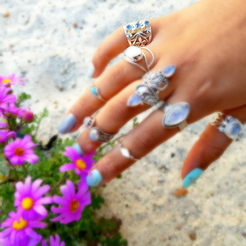 Mystical Triad Blue Topaz Sterling Silver Ring - Lakota Inspirations