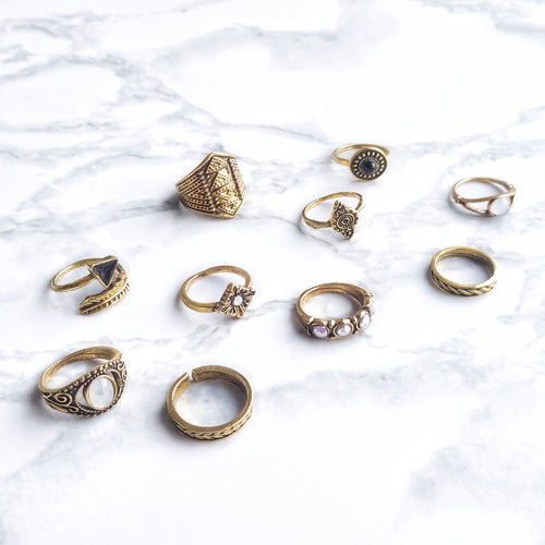 The Bohemian Wanderer Ring Set - Gold - Lakota Inspirations