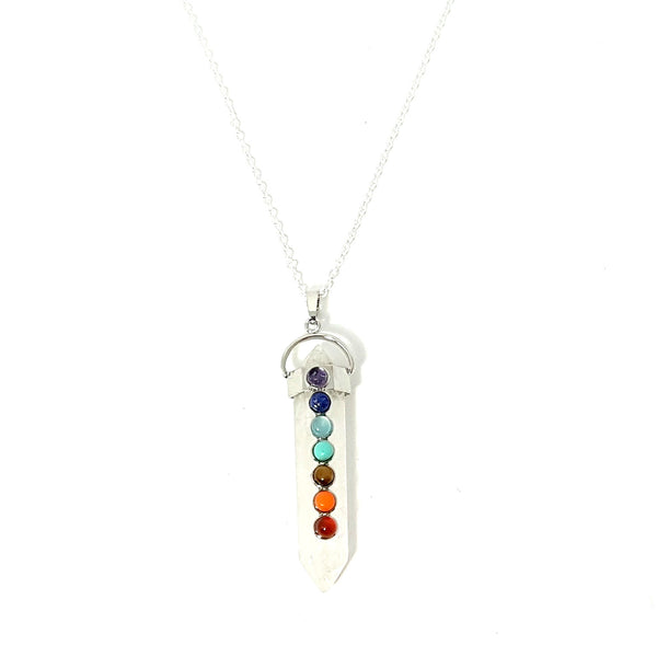 Chakra detailed Designer Clear Quartz Crystal Necklace - Lakota Inspirations