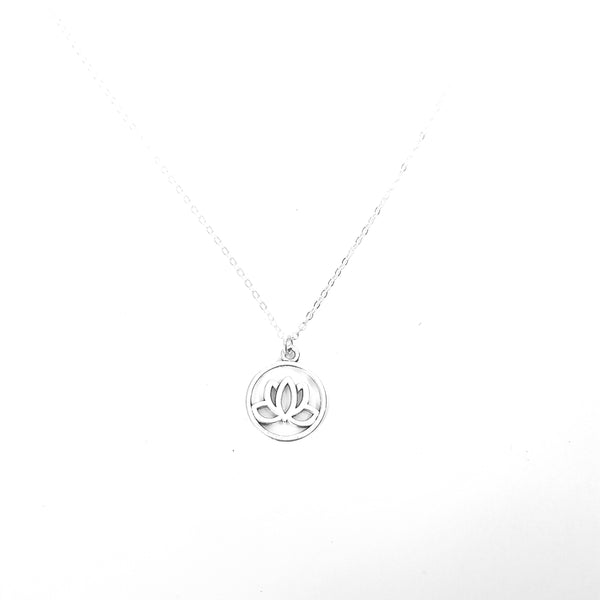 Encircled Lotus Flower Charm Chain Necklace - Lakota Inspirations