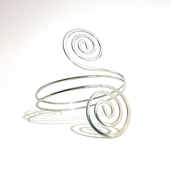 Silver Double Swirled Arm Cuff - Lakota Inspirations
