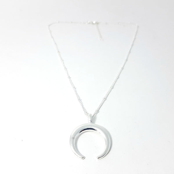 The Silver Crescent Moon Necklace - Lakota Inspirations