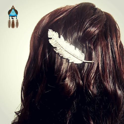 Silver Feather Hair Clip - Lakota Inspirations