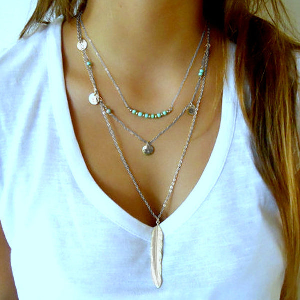 Silver and Turquoise Layered Feather Necklace - Lakota Inspirations