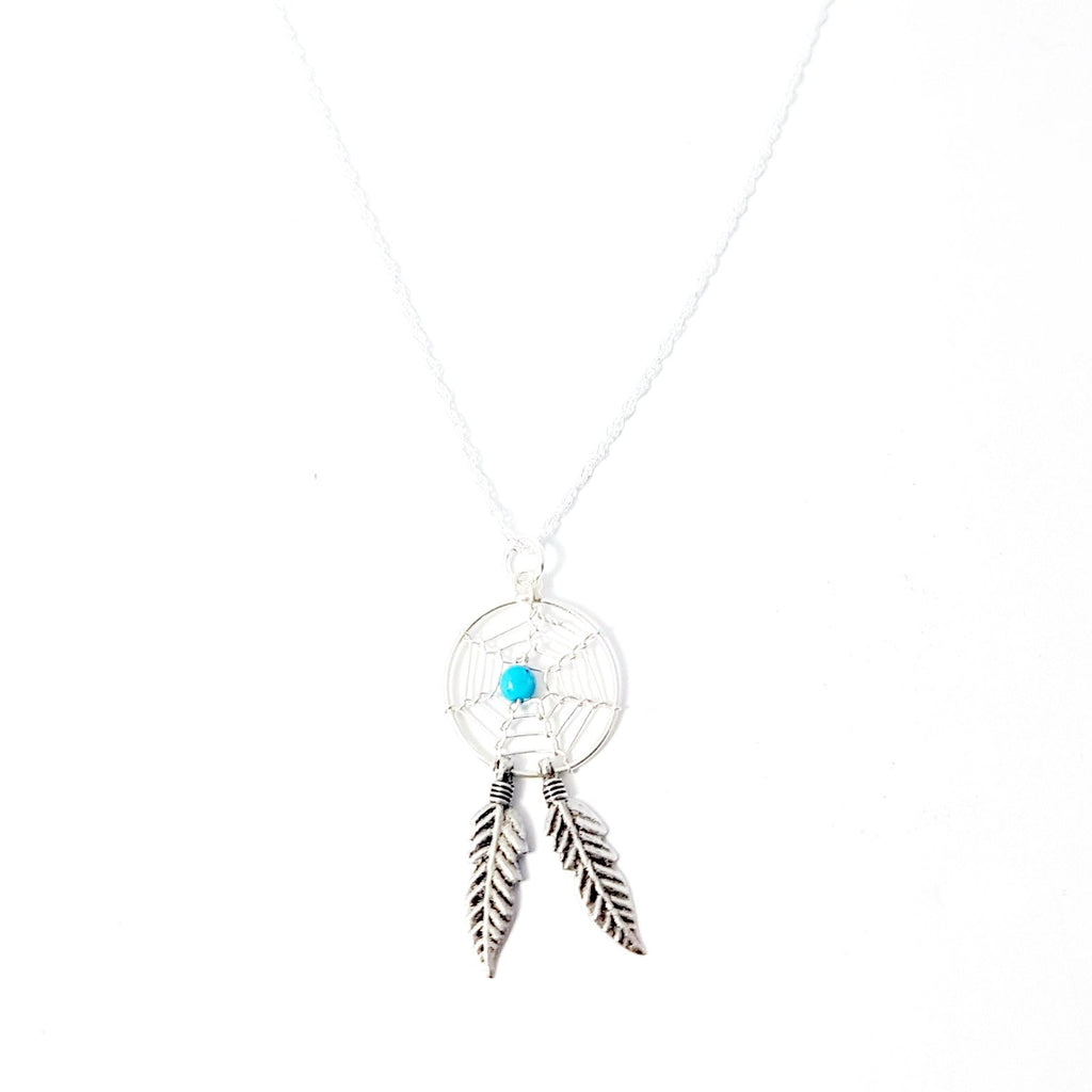 necklace catcher feather wholesale boho pendant diamond from single sale style silver dream product heart alloy hot