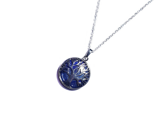 Tree of Life Crystal Necklace- Lapis Lazuli