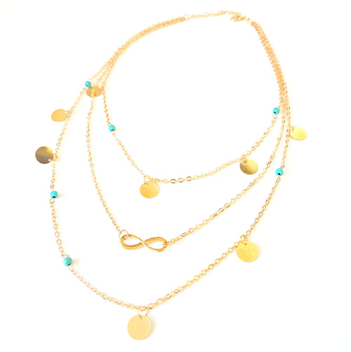 Triple Tier Infinity & Turquoise Layered Necklace Set - Lakota Inspirations