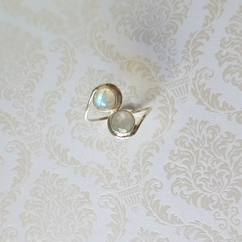 Twin Soul Moonstone Sterling Silver Ring - Lakota Inspirations
