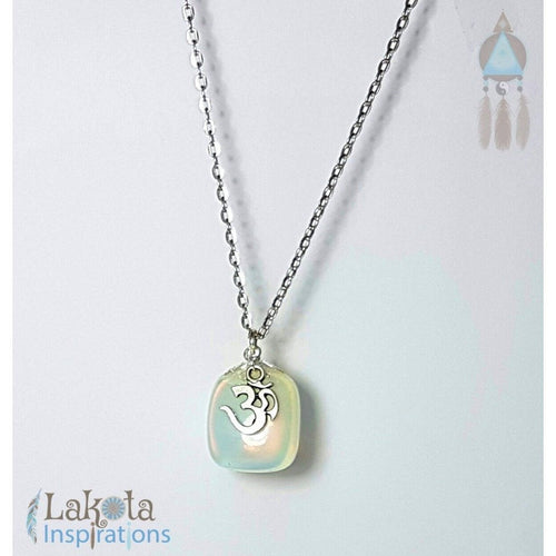 Om Charm Detailed Opalite Necklace - Lakota Inspirations