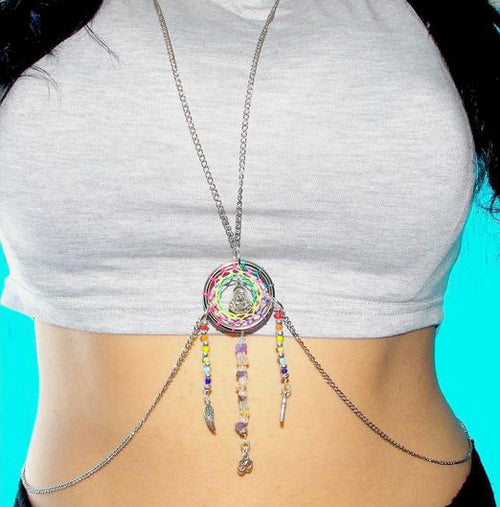 Dream Catcher Body Chain with Feather Charms - Lakota Inspirations
