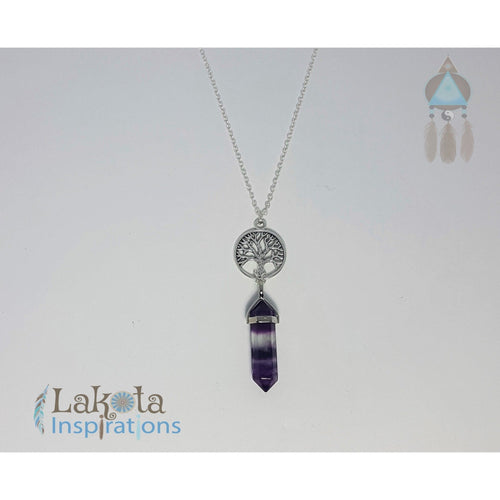 Purple Fluorite Crystal Designer Charm Necklace (Assorted) - Lakota Inspirations
