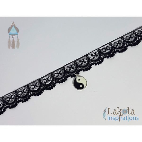 Black Lace Choker with Charm/Crystal - Lakota Inspirations