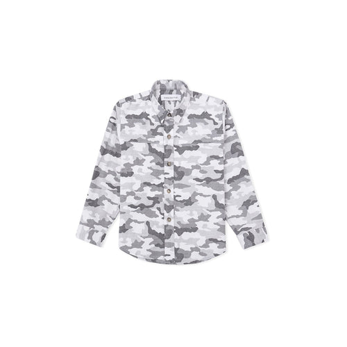 Army Printed Long Sleeve Shirt - white